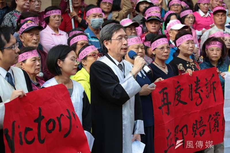 20171027-RCA律師團代表李永頌27日出席「再度勝訴!讓二審判決成果,繼續翻轉藍綠共謀19年的政商結構」記者會。(顏麟宇攝)