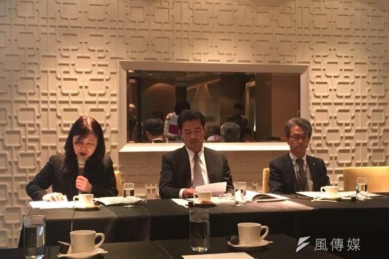 日本工商會3日提出2017年對台政策建議白皮書,並遞交給國發會主委陳美伶。圖中為日本工商會理事長八木猛。(尹俞歡攝)