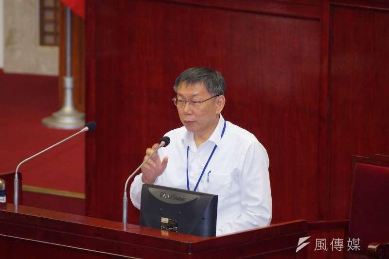 台北市長柯文哲赴市議會備詢。(盧逸峰攝)