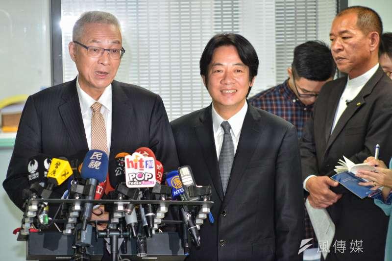 20171103-行政院長賴清德拜會吳敦義,一起接受媒體採訪。(甘岱民攝)