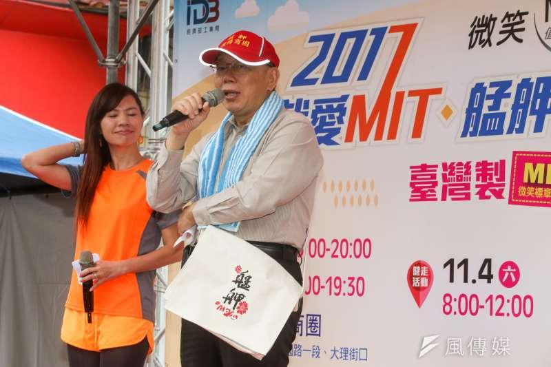 台北市長柯文哲3日表示,正在考量赴中國深圳設辦事處。柯文哲4日上午受訪時表示,設辦事處是為了招商,不過都還在考量。(陳明仁攝)