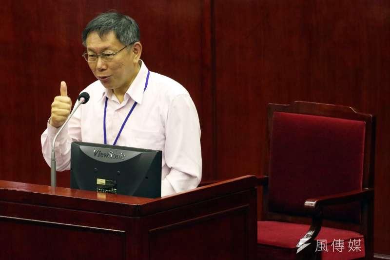 台北市長柯文哲在市議會,進行總質詢及答覆。(蘇仲泓攝)