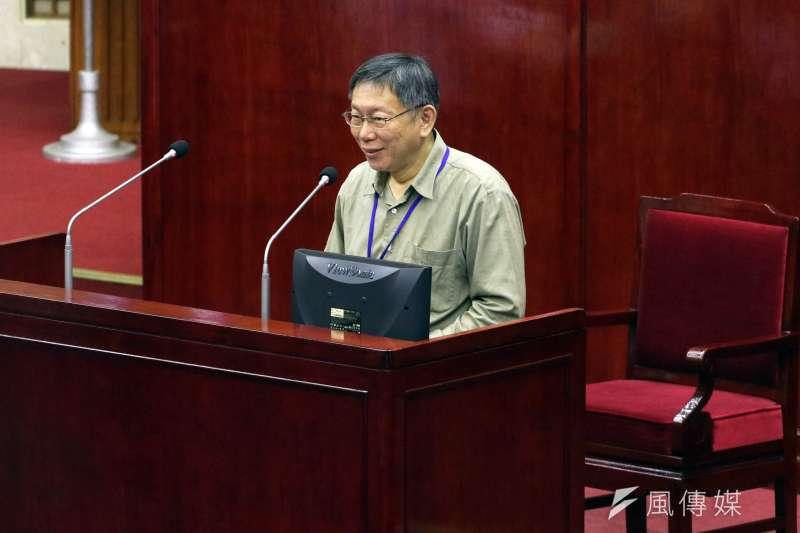 台北市長柯文哲無奈地說,他覺得台北市政府完全無法保密,內部講的話都被拿去外面講,搞到最後他都不敢講話了。(蘇仲泓攝)