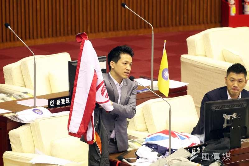 20171117-台北市議會下午進行市政總質詢及答覆,圖為民進黨議員何志偉。(蘇仲泓攝)