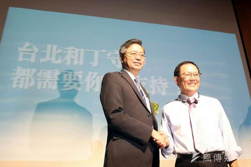 2017年11月18日,前立法委員丁守中(右)宣布參選台北市長,前行政院長張善政出任市政顧問(蘇仲泓攝)