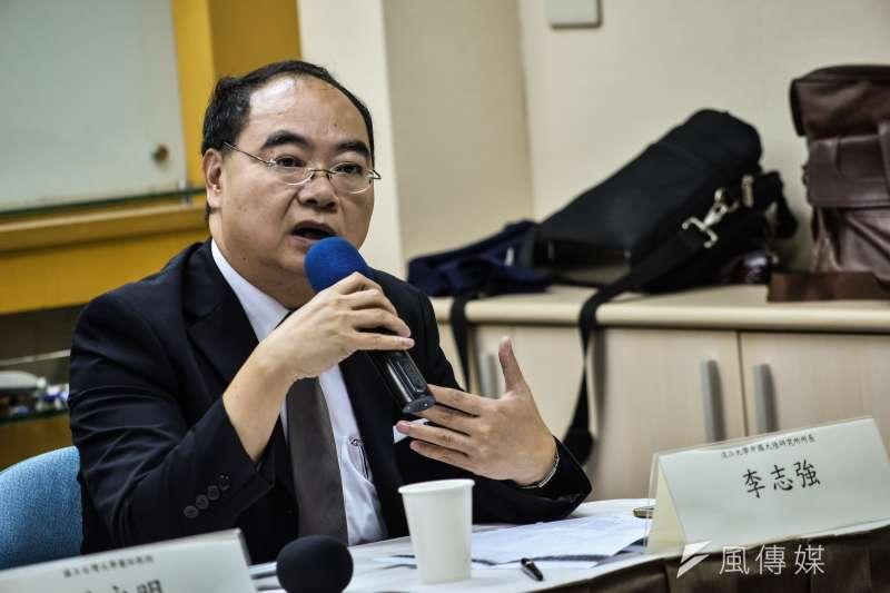 淡江大學中國大陸研究所所長李志強在座談會中表示,這份大訂單看似降低中美貿易逆差,但對雙方的實質貿易效果仍有侷限。(甘岱民攝)