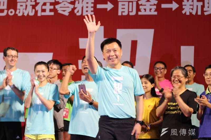 立委趙天麟18日舉行「大高雄38區公益完跑」最終場。(圖/袁雨漱攝)