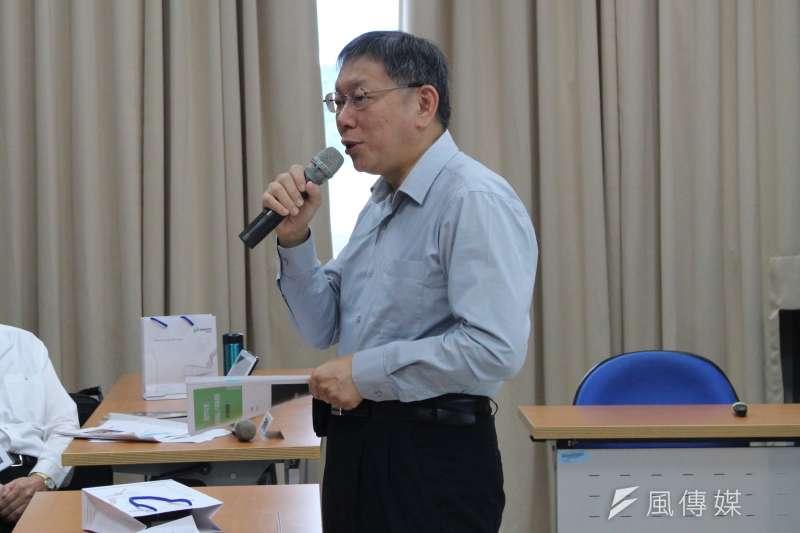 台北市長柯文哲表示,以科學角度、學術角度,發重陽敬老金是不對的。(方炳超攝)