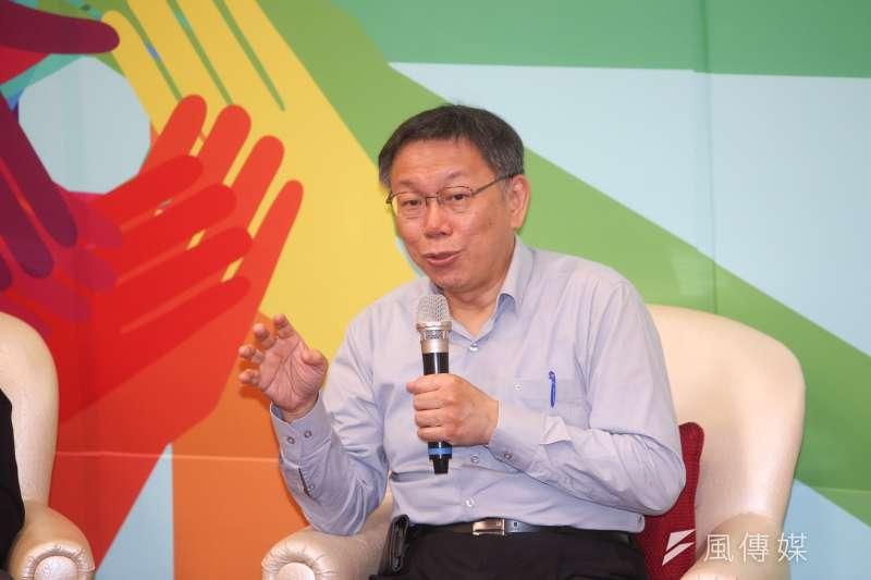 台北市長柯文哲19日出席國際扶輪社扶輪青年領袖成長營。(陳明仁攝)