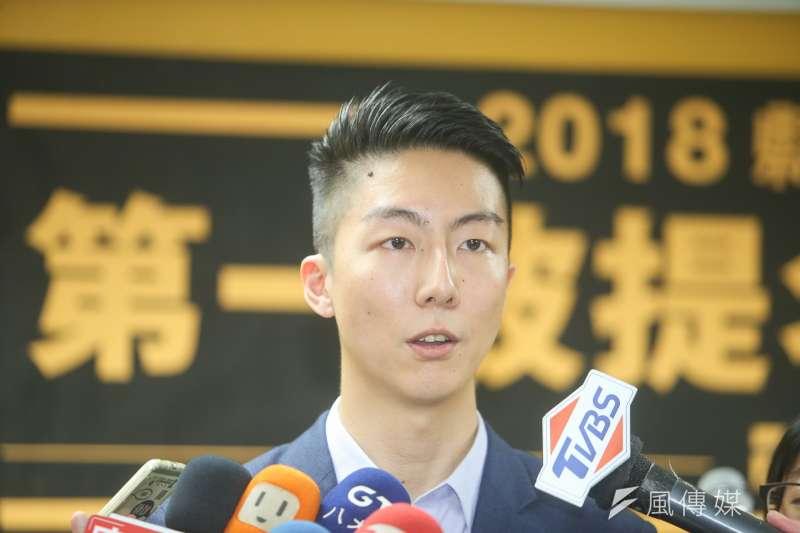 時代力量發言人吳崢,出席時代力量2018年縣市議員選區公布記者會。(陳明仁攝)