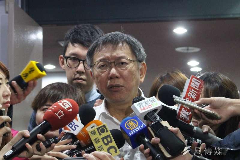 針對日前發生的中和大火,台北市長柯文哲指出,「大火燒出違建背後的安全問題」。(方炳超攝)