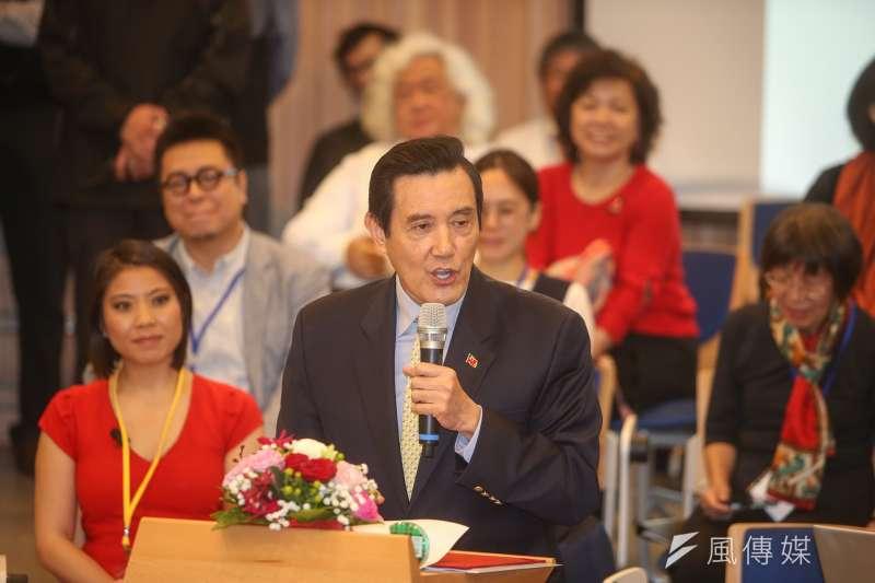 前總統馬英九,出席台灣大學「次震宇宙館」完工典禮。(陳明仁攝)