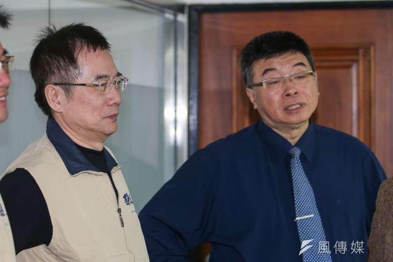 國民黨前立委蔡正元(左)在臉書表示,其實前立委邱毅(右)本來就在國民黨不分區名單裡。(資料照,陳明仁攝)