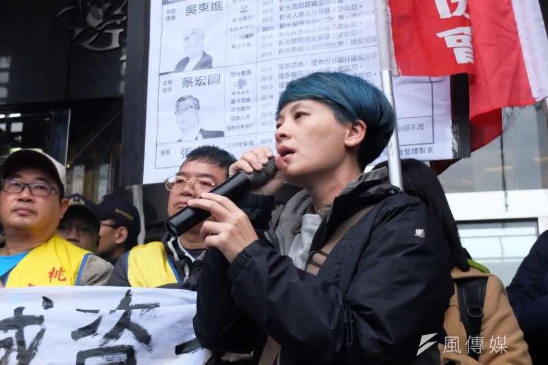 20171212-行政院長賴清德與工商團體12日於台北市五星級飯店花園酒店進行早餐會,勞工團體在外集結為《勞基法》修法抗議。圖為台灣國際勞工協會陳秀蓮。(謝孟穎攝)