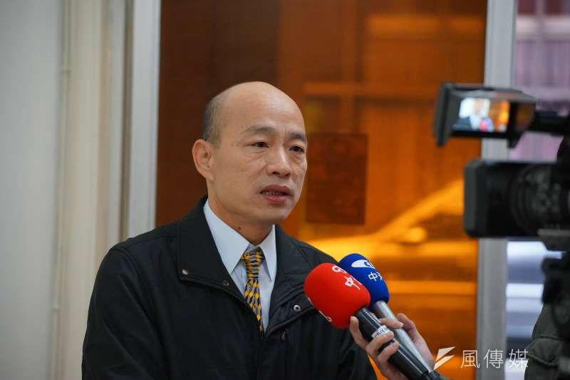前北農總經理、現高雄地方黨部主委韓國瑜談北農休市造成菜價跌,這是人禍。(盧逸峰攝)