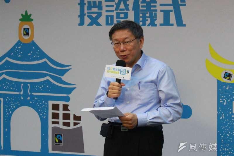 台北市長柯文哲12日回應跨年晚會、河岸公園音樂季預算增加問題,表示如果按照議員邏輯,大概明年預算都不要編了。(方炳超攝)