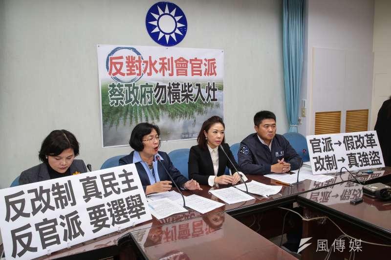 國民黨團召開記者會痛批「大開民主倒車」,藍委張麗善更表示,《公投法》既然修法通過了,那就來讓弱勢農民表達心聲。(顏麟宇攝)