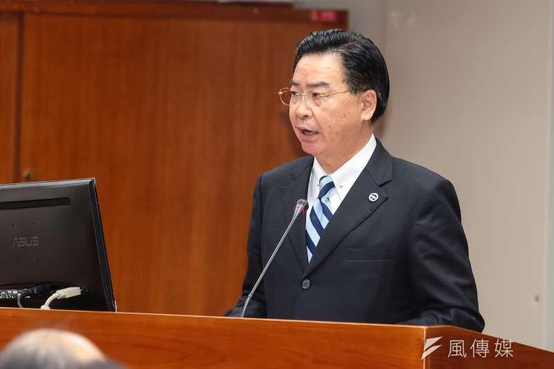 台灣娛樂漁船東半球28號日前在台日重疊經濟海域內遭日本取締追趕,外交部5日表示,日本作法過當,已向日方表達嚴正抗議。圖為外交部長吳釗燮。(資料照,顏麟宇攝)