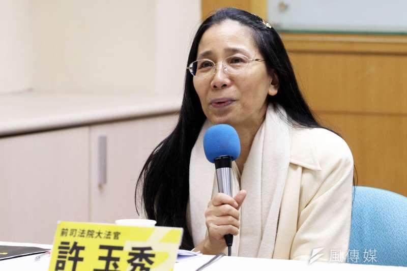 20171214-前司法院大法官許玉秀上午出席「台灣要進步 要你這一票:請跟我們一起挺國昌」記者會。(蘇仲泓攝)