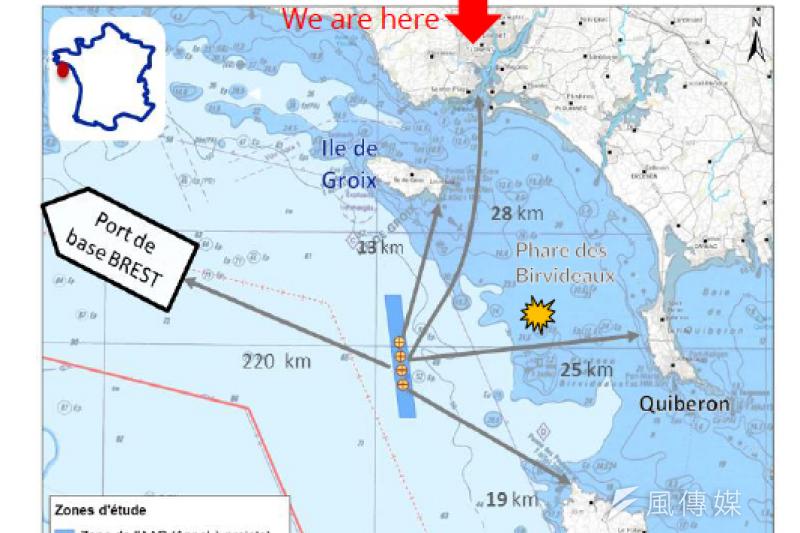 法國專題-EOLFI在法國西海岸邊格魯瓦島和貝勒島(de Groix & Belle-ile)間設的示範風場(EOLFI提供)