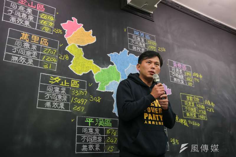 時代力量立委黃國昌於開票結果底定後,抵達汐止服務處接受媒體聯訪。(顏麟宇攝)