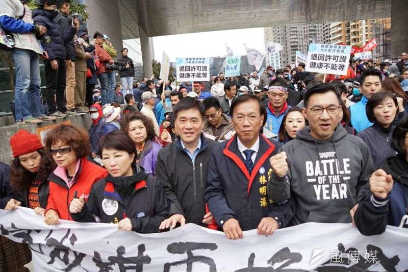 反空污大遊行17日台中登場場,國民黨隊伍大陣仗出席。(盧逸峰攝)