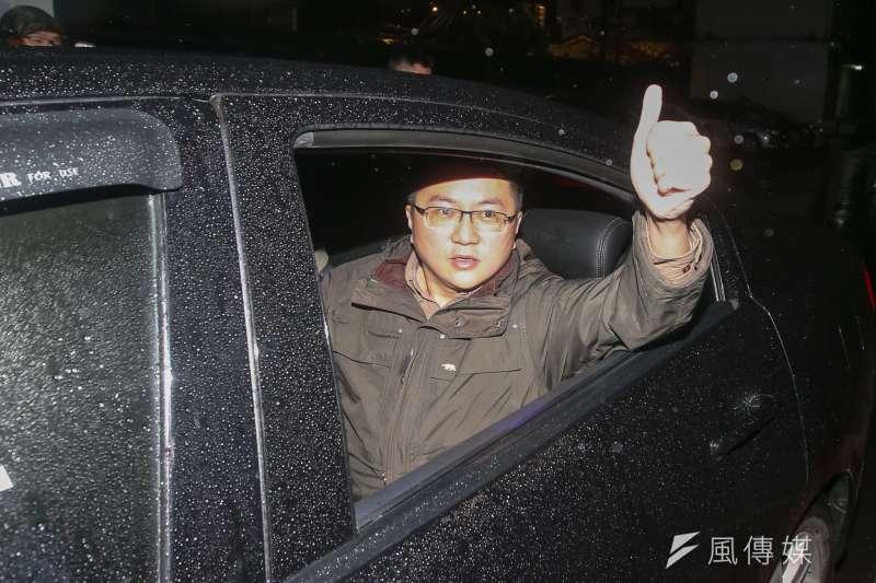 新黨宣傳部副主任林明正被移送北檢,高喊打倒美日漢奸。(陳明仁攝)