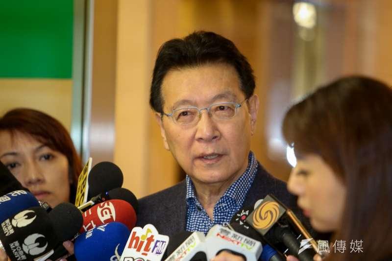 中廣董事長趙少康21日針對中國廣播公司作相關說明,並表示若說中廣是附隨組織,是一種侮辱。(陳明仁攝)
