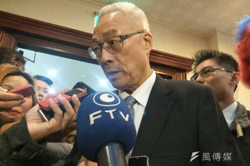 依慣例舉辦兩黨領袖會面的「吳習會」,黨主席吳敦義低調地說,現在還不能評論或臆測。(周怡孜攝)