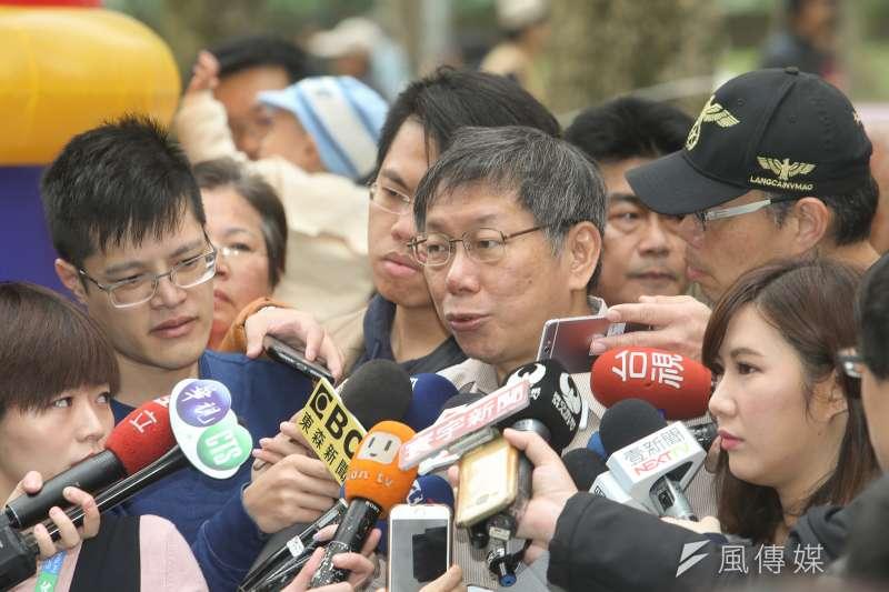 20171224-台北市長柯文哲出席運動反毒公益園遊會,柯文哲受訪。(陳明仁攝)