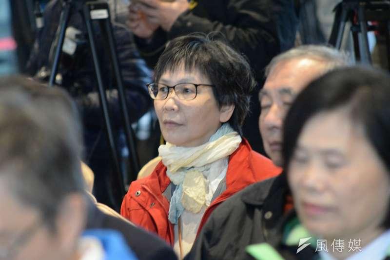 20171225-柯文哲執政三週年記者會,蔡壁如坐在台下。(甘岱民攝)