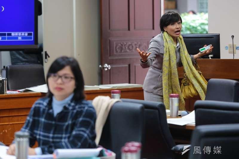 民進黨立委邱議瑩27日於經濟委員會審查礦業法時,與同黨立委林淑芬發生爭執。(顏麟宇攝)