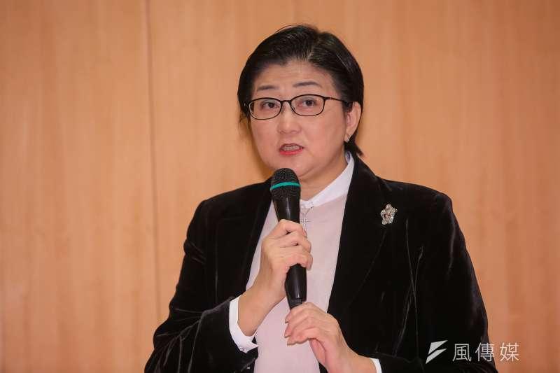 婦聯會主委雷倩29日於簽訂備忘錄後召開記者會說明。(顏麟宇攝)