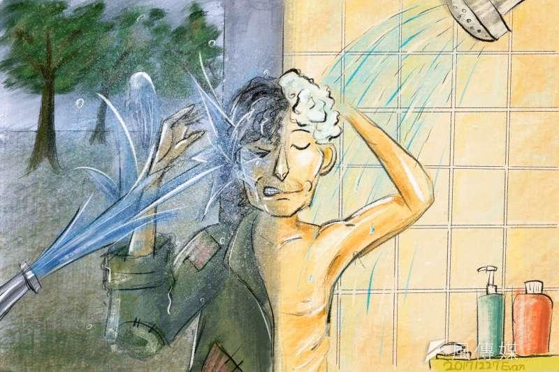 從過去用水柱驅離遊民,到如今利用行動式街友洗澡車巡迴,邀請街友上車洗熱水澡,重視人權落實在台灣的各個角落。(鄭力瑋繪)