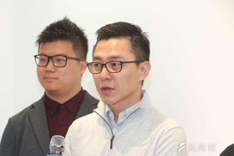 蔣萬安的前助理詹為元,台北市長參選人丁守中競選辦公室發言人。(陳明仁攝)