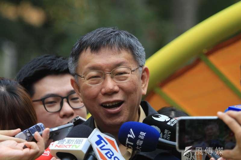 台北市長柯文哲在上午出席「公園不再大眾臉,4座共融式遊戲場啟用」記者會。(方炳超攝)