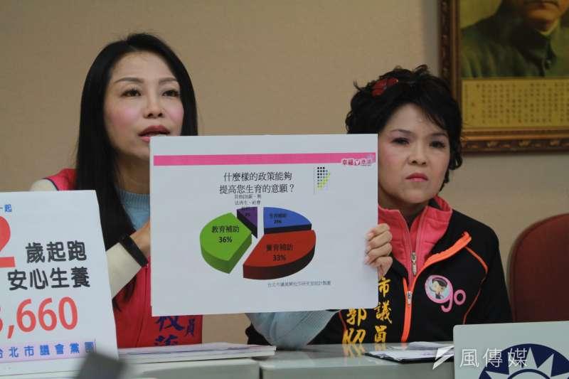 北市議闕枚莎(左)表示,幼托政策應該要長期規劃,不是短暫的,延伸到2歲可以解決家長負擔。(方炳超攝)