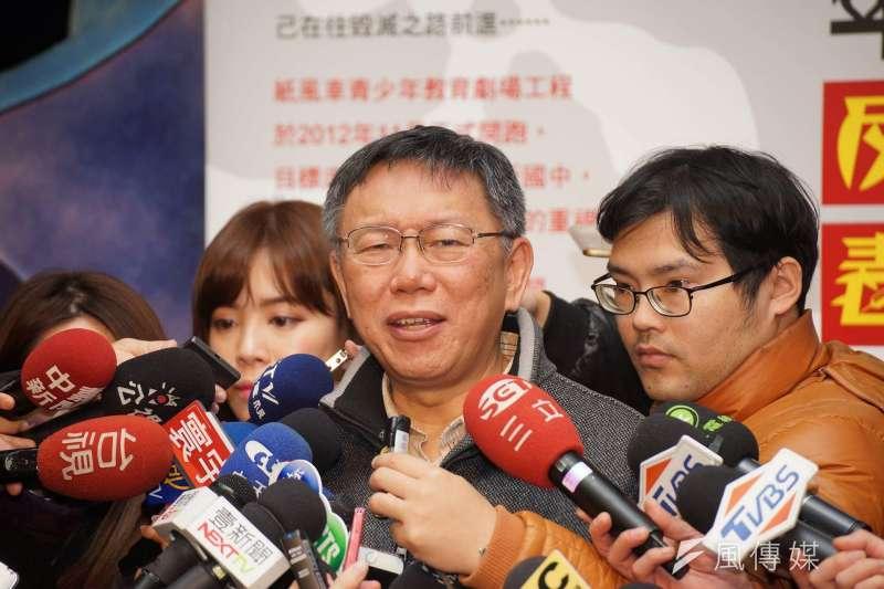 據傳台北市觀傳局長簡余晏走人主因是和市長室顧問蔡壁如不合,台北市長柯文哲表示,他們「常常會用力討論」。(盧逸峰攝)