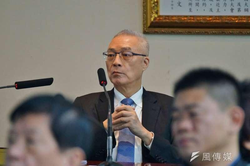 20180110-國民黨主席吳敦義出席國民黨中常會。(盧逸峰攝)