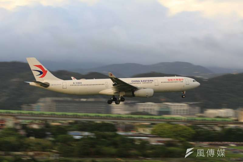 飛行M503航線的四家民航機,中國東方航空。(方炳超攝)