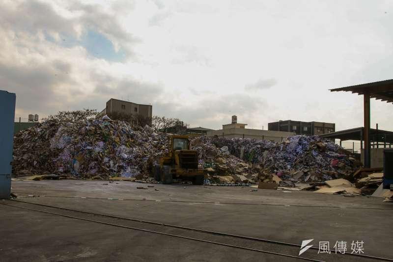 大園工業區,廢紙回收廠,20180111-工業區,環科園區,工廠,廠家。(陳明仁攝)