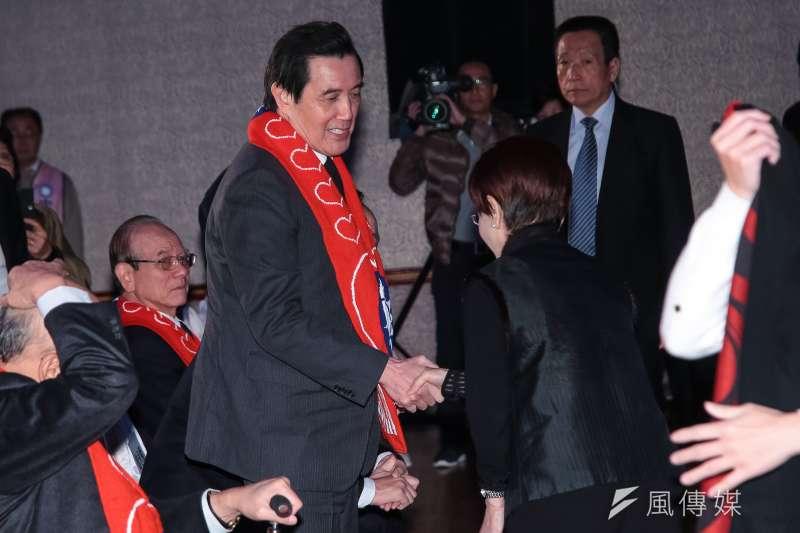 20180113-前總統馬英九、前國民黨主席洪秀柱13日出席「經國先生逝世30週年紀念大會」。(顏麟宇攝)