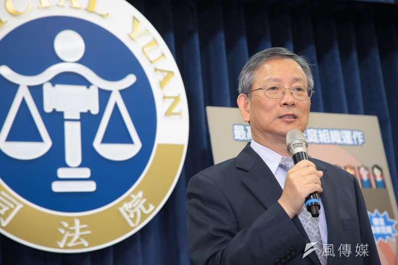 司法院秘書長呂太郎17日於司法院召開「大法庭新制介紹發布記者會」。(顏麟宇攝)