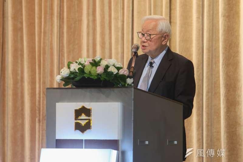 台積電董事長張忠謀在任最後一次法人說明會。(陳明仁攝)