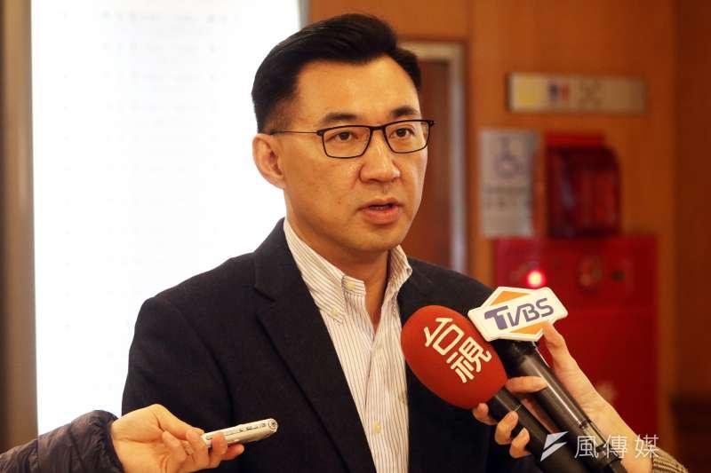 20180124-國民黨委員江啟臣上午在立法院受訪。(蘇仲泓攝)