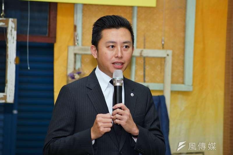 新竹市長林智堅出席東門市場音樂趴踢奈活動記者會。(盧逸峰攝)