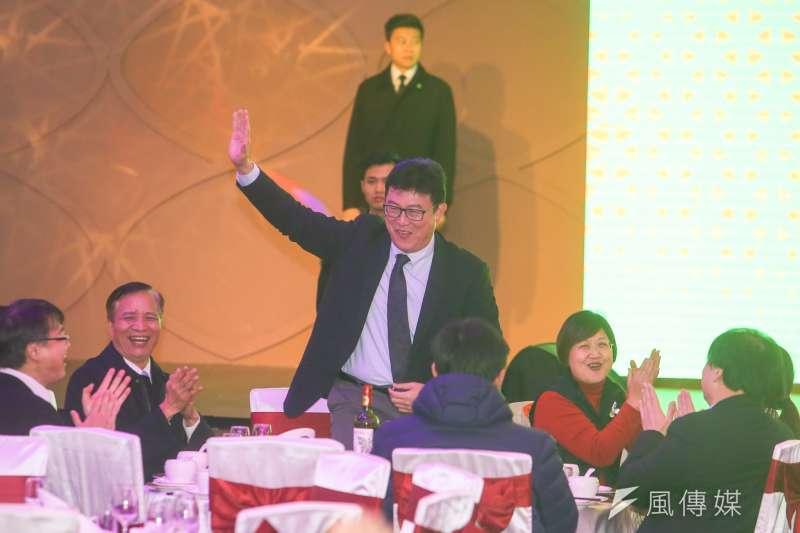 20180131-民主進步黨年終餐敘中,蔡英文主席點名姚文智,表示就算偏心也會偏向他,姚文智樂  開懷。(陳明仁攝)
