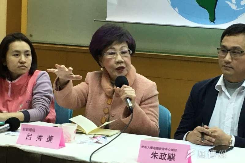 前副總統呂秀蓮宣布有意參選台北市長,自認「當仁不讓」。(顏振凱攝)