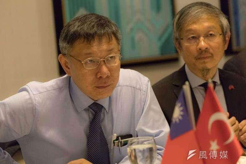 台北市長柯文哲訪歐談台北價值。(台北市政府提供)