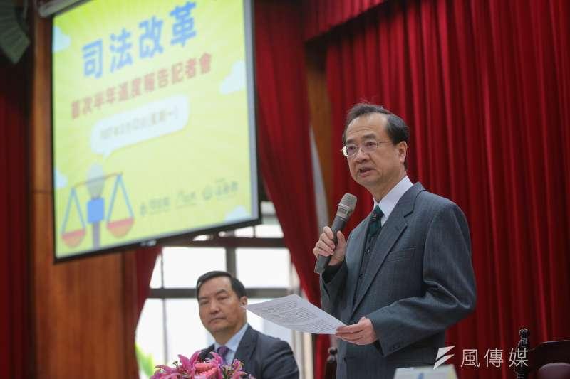 司法院長許宗力12日召開「司法改革首次半年進度報告」記者會。(顏麟宇攝)